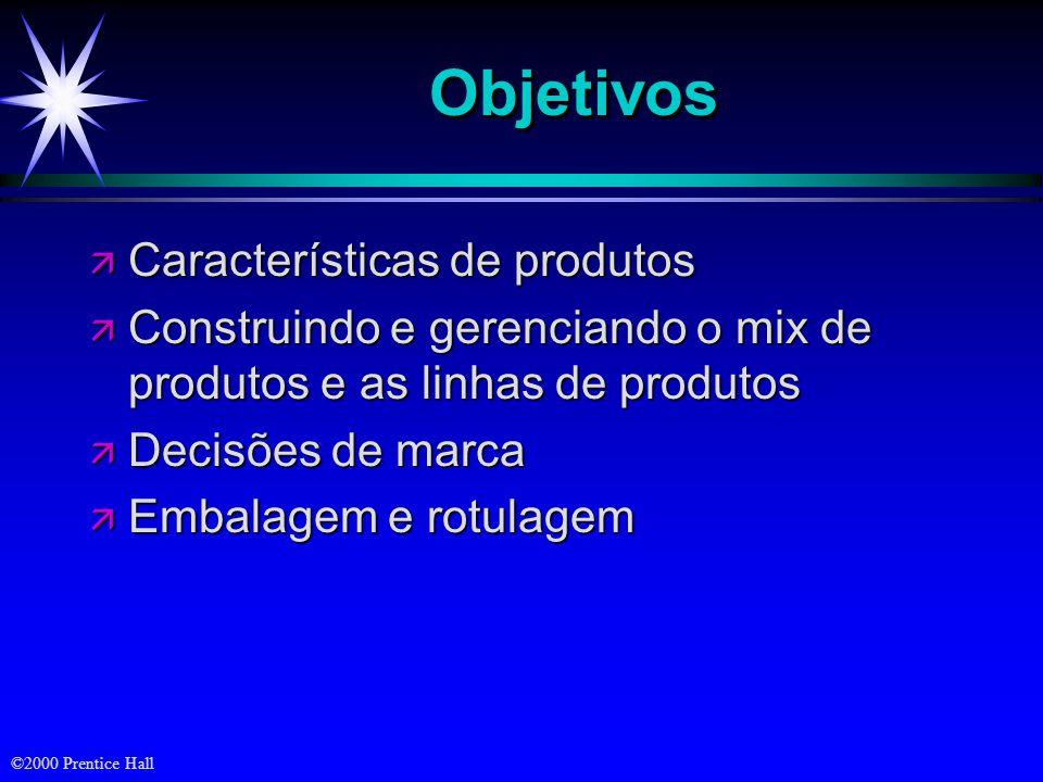 ©2000 Prentice Hall ObjetivosObjetivos ä Características de produtos ä Construindo e gerenciando o mix de produtos e as linhas de produtos ä Decisões