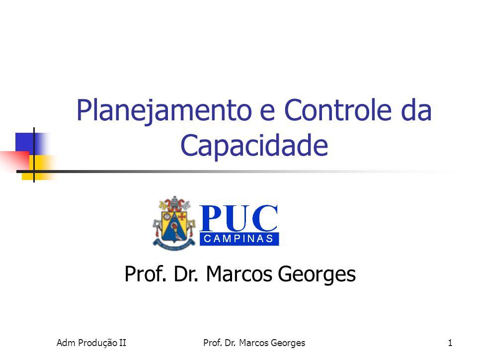 Adm Produção IIProf.Dr. Marcos Georges1 Planejamento e Controle da Capacidade Prof.