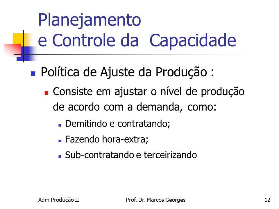 Adm Produção IIProf. Dr. Marcos Georges12 Planejamento e Controle da Capacidade Política de Ajuste da Produção : Consiste em ajustar o nível de produç