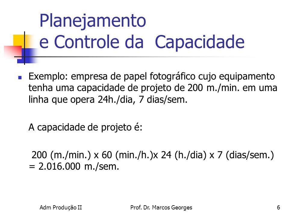 Adm Produção IIProf. Dr. Marcos Georges6 Planejamento e Controle da Capacidade Exemplo: empresa de papel fotográfico cujo equipamento tenha uma capaci