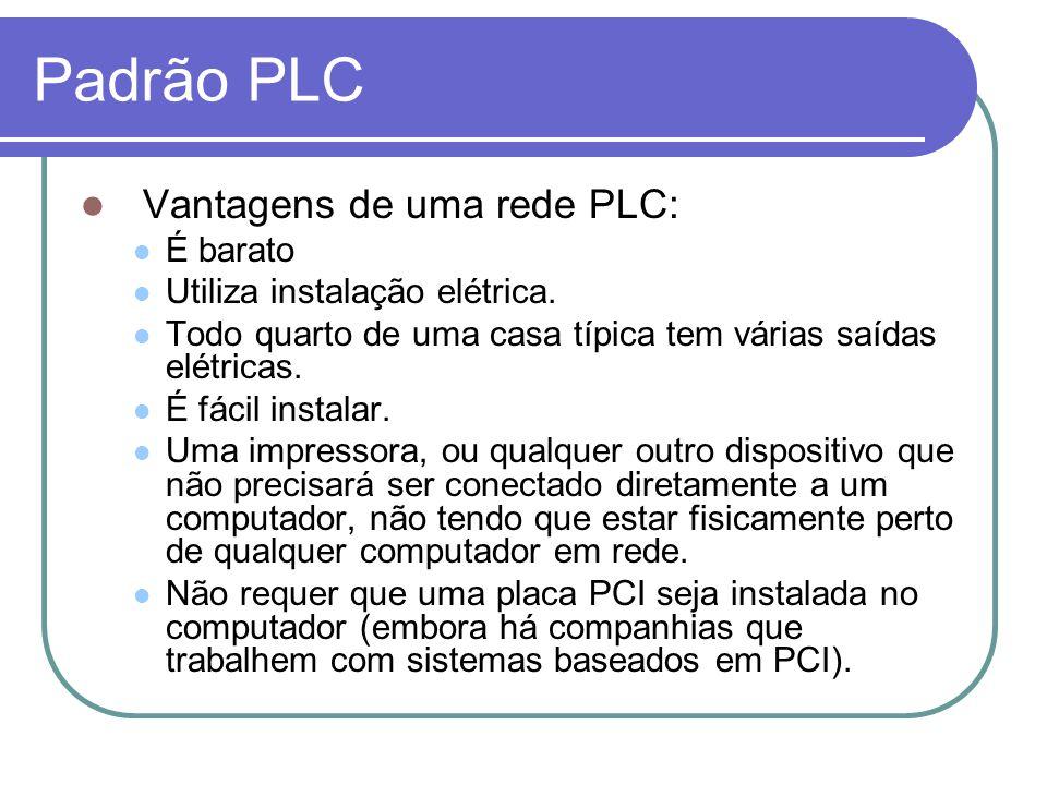 Padrão PLC Vantagens de uma rede PLC: É barato Utiliza instalação elétrica. Todo quarto de uma casa típica tem várias saídas elétricas. É fácil instal