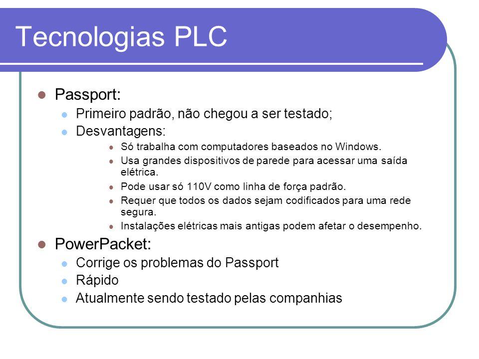 Tecnologias PLC Passport: Primeiro padrão, não chegou a ser testado; Desvantagens: Só trabalha com computadores baseados no Windows. Usa grandes dispo