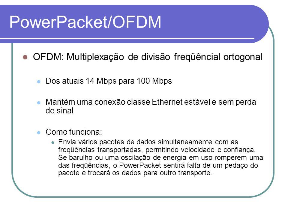 PowerPacket/OFDM OFDM: Multiplexação de divisão freqüêncial ortogonal Dos atuais 14 Mbps para 100 Mbps Mantém uma conexão classe Ethernet estável e se