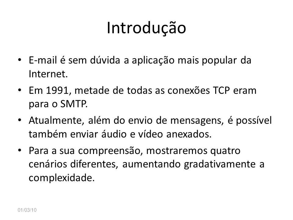 Introdução E-mail é sem dúvida a aplicação mais popular da Internet. Em 1991, metade de todas as conexões TCP eram para o SMTP. Atualmente, além do en