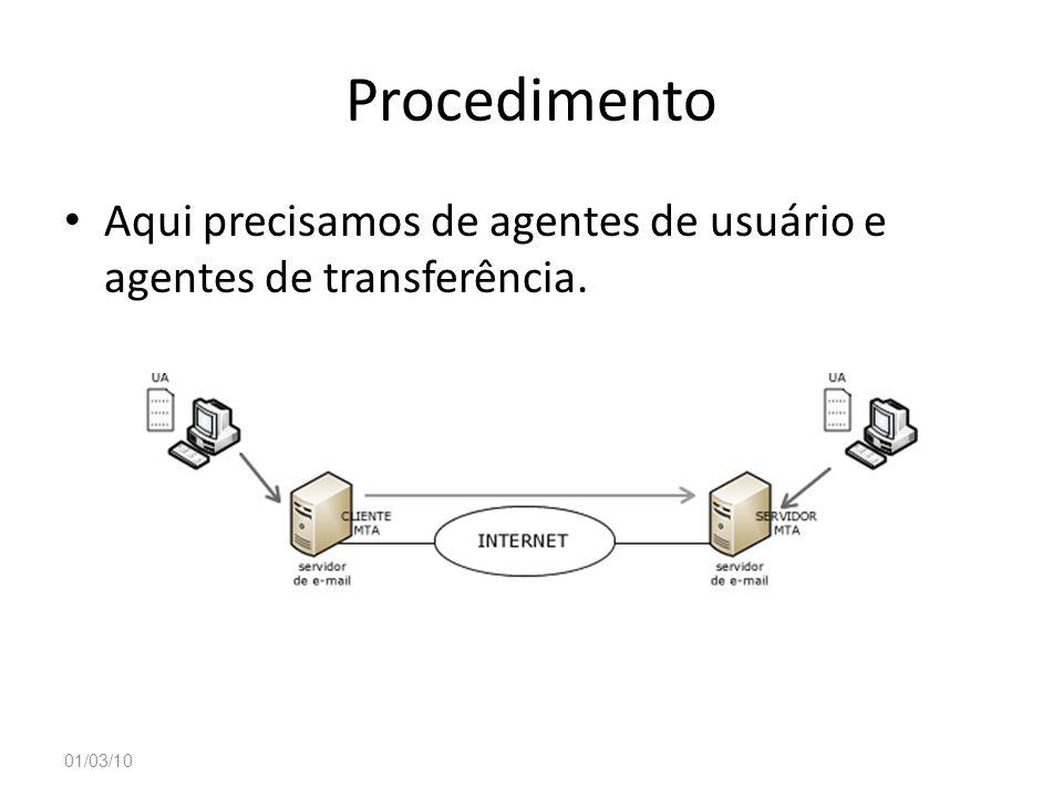 Procedimento Aqui precisamos de agentes de usuário e agentes de transferência. 01/03/10