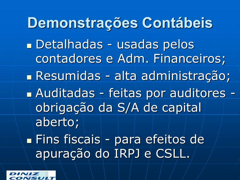 Demonstrações Contábeis Detalhadas - usadas pelos contadores e Adm. Financeiros; Detalhadas - usadas pelos contadores e Adm. Financeiros; Resumidas -