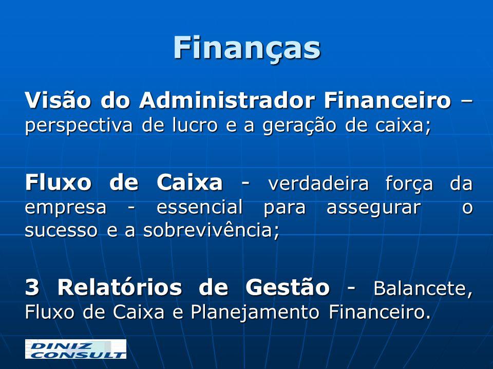 Finanças Visão do Administrador Financeiro – perspectiva de lucro e a geração de caixa; Fluxo de Caixa - verdadeira força da empresa - essencial para