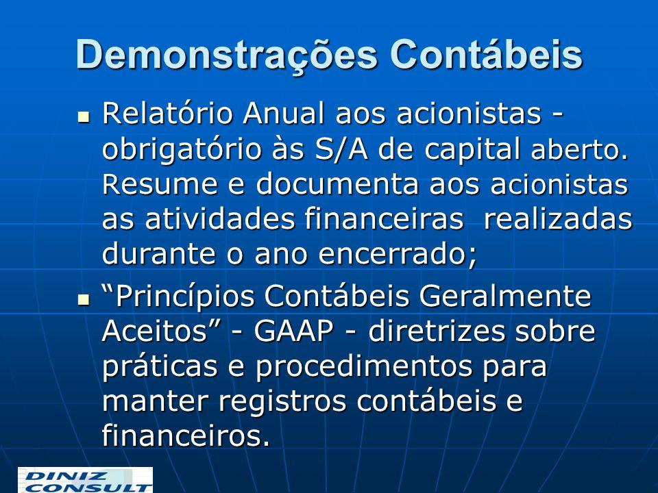 Demonstrações Contábeis Relatório Anual aos acionistas - obrigatório às S/A de capital aberto. R esume e documenta aos a cionistas as atividades finan