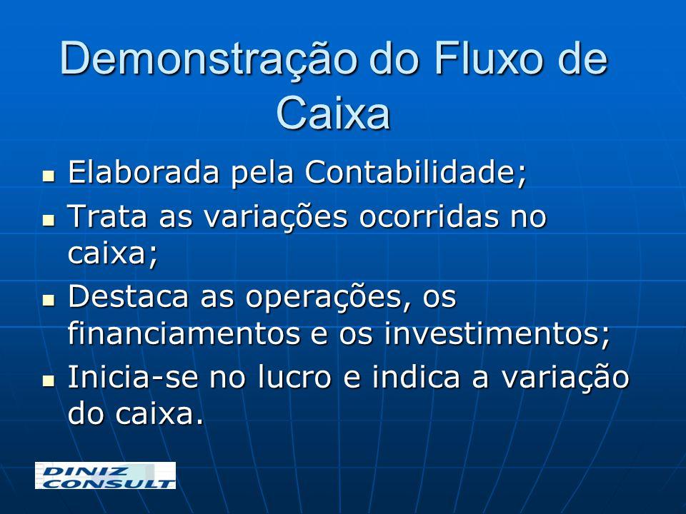 Demonstração do Fluxo de Caixa Elaborada pela Contabilidade; Elaborada pela Contabilidade; Trata as variações ocorridas no caixa; Trata as variações o