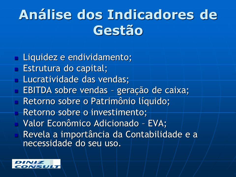 Análise dos Indicadores de Gestão Liquidez e endividamento; Liquidez e endividamento; Estrutura do capital; Estrutura do capital; Lucratividade das ve