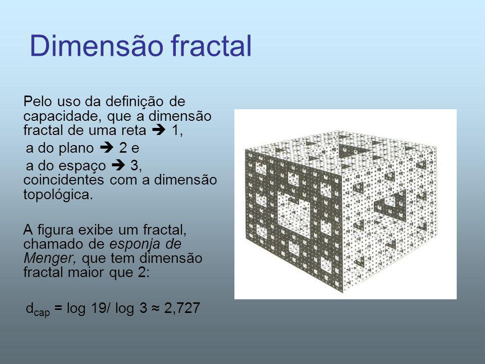 Dimensão fractal Pelo uso da definição de capacidade, que a dimensão fractal de uma reta 1, a do plano 2 e a do espaço 3, coincidentes com a dimensão