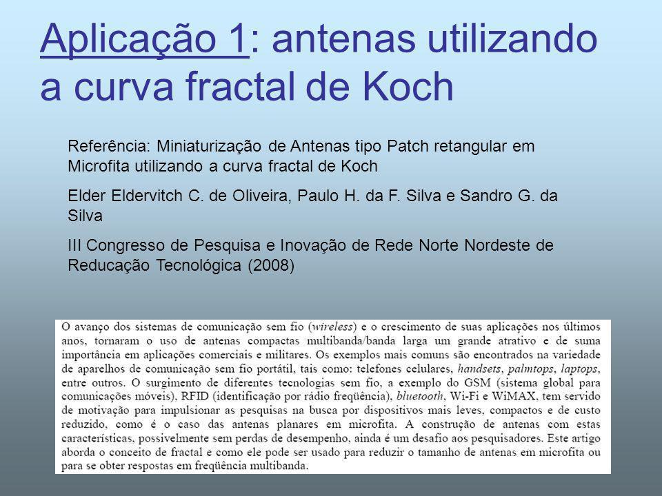 Aplicação 1: antenas utilizando a curva fractal de Koch Referência: Miniaturização de Antenas tipo Patch retangular em Microfita utilizando a curva fr