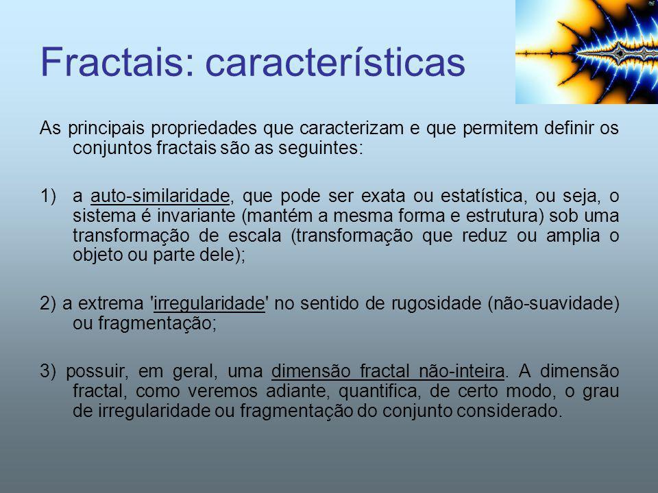 Fractais: características As principais propriedades que caracterizam e que permitem definir os conjuntos fractais são as seguintes: 1)a auto-similari