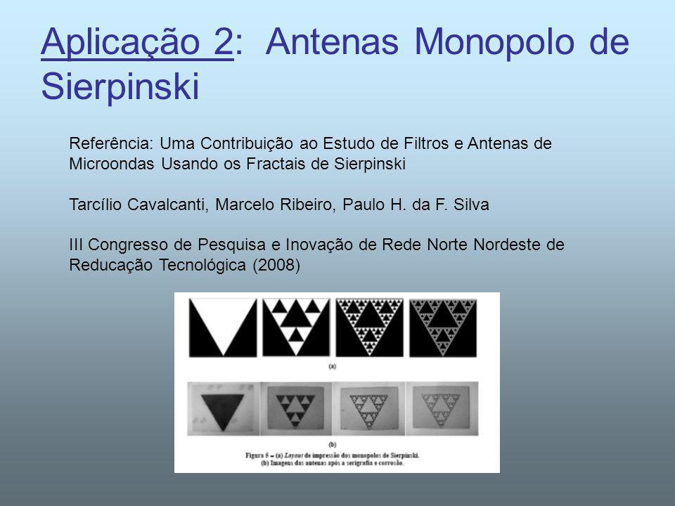 Aplicação 2: Antenas Monopolo de Sierpinski Referência: Uma Contribuição ao Estudo de Filtros e Antenas de Microondas Usando os Fractais de Sierpinski