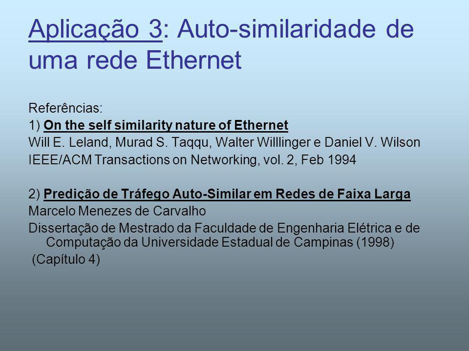 Aplicação 3: Auto-similaridade de uma rede Ethernet Referências: 1) On the self similarity nature of Ethernet Will E. Leland, Murad S. Taqqu, Walter W