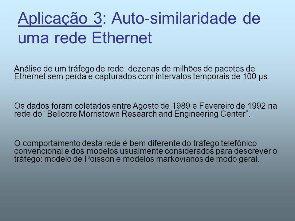 Aplicação 3: Auto-similaridade de uma rede Ethernet Análise de um tráfego de rede: dezenas de milhões de pacotes de Ethernet sem perda e capturados co