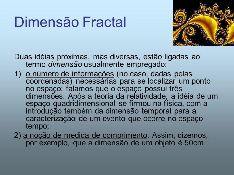 Dimensão Fractal Duas idéias próximas, mas diversas, estão ligadas ao termo dimensão usualmente empregado: 1)o número de informações (no caso, dadas p