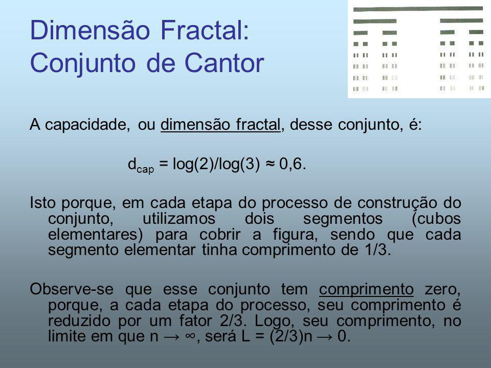 Dimensão Fractal: Conjunto de Cantor A capacidade, ou dimensão fractal, desse conjunto, é: d cap = log(2)/log(3) 0,6. Isto porque, em cada etapa do pr