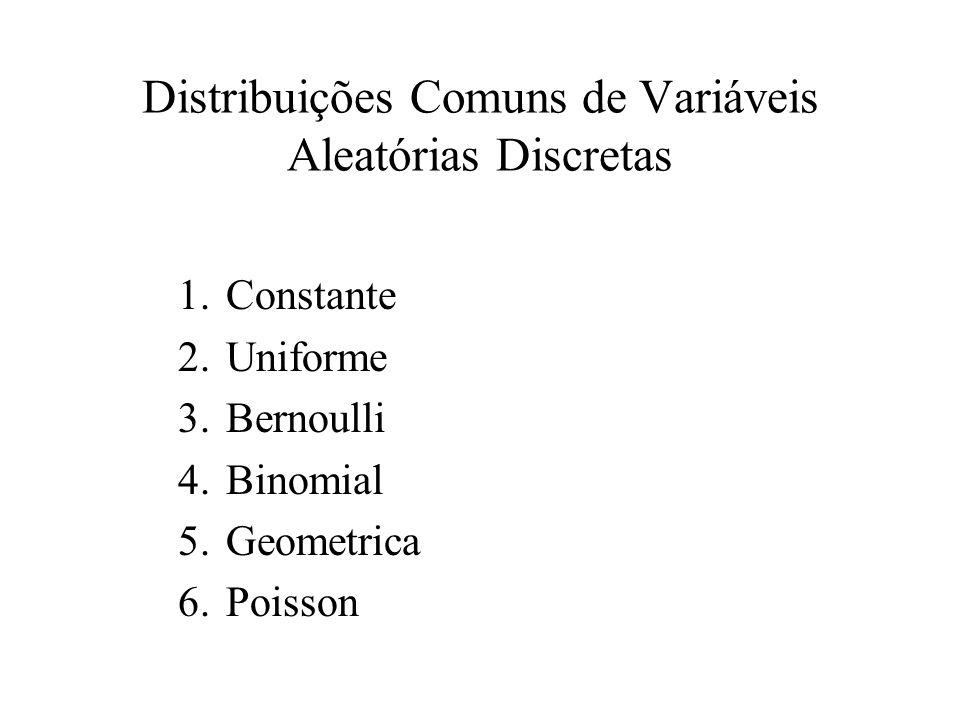 Distribuições Comuns de Variáveis Aleatórias Discretas 1.Constante 2.Uniforme 3.Bernoulli 4.Binomial 5.Geometrica 6.Poisson
