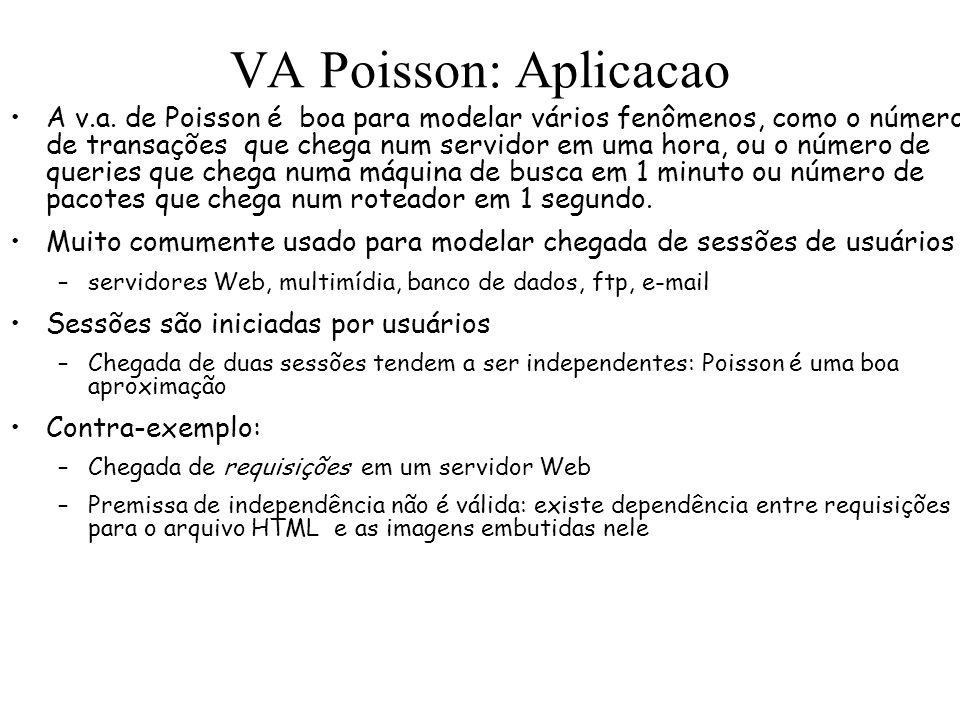 VA Poisson: Aplicacao A v.a. de Poisson é boa para modelar vários fenômenos, como o número de transações que chega num servidor em uma hora, ou o núme
