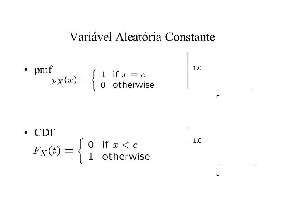 Poisson Uma v.a. de Poisson X tem sua pmf:: Onde > 0 é uma constante E(X)= Var(X) =