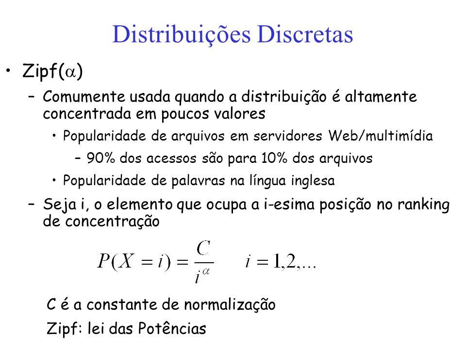 Distribuições Discretas Zipf( ) –Comumente usada quando a distribuição é altamente concentrada em poucos valores Popularidade de arquivos em servidore