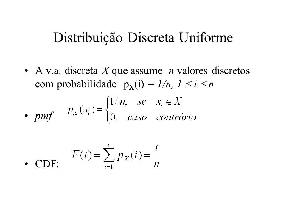 Distribuição Discreta Uniforme A v.a. discreta X que assume n valores discretos com probabilidade p X (i) = 1/n, 1 i n pmf CDF: