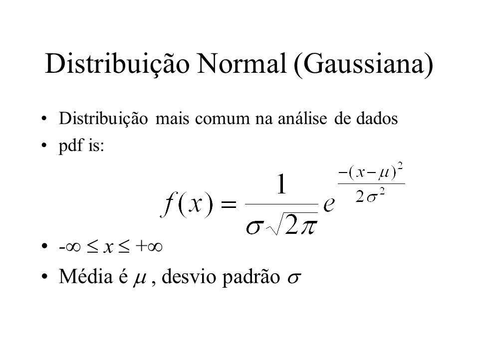 Distribuição Normal (Gaussiana) Distribuição mais comum na análise de dados pdf is: - x + Média é, desvio padrão