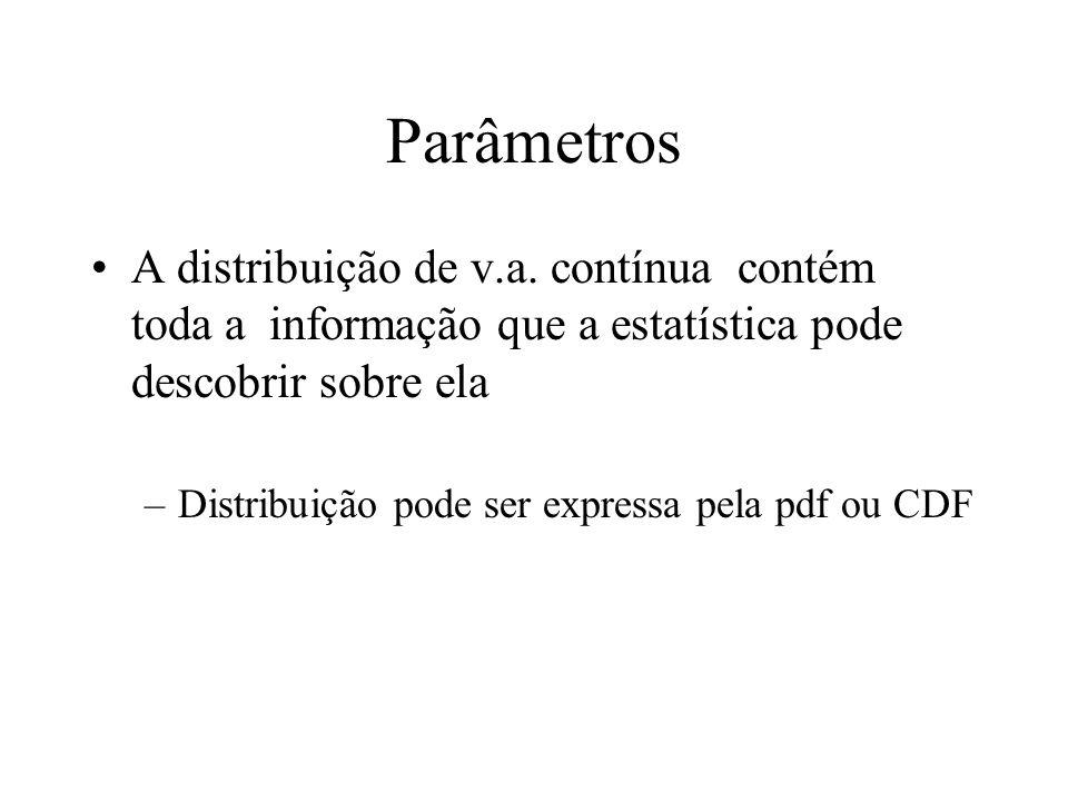Parâmetros A distribuição de v.a. contínua contém toda a informação que a estatística pode descobrir sobre ela –Distribuição pode ser expressa pela pd