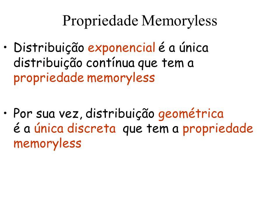 Propriedade Memoryless Distribuição exponencial é a única distribuição contínua que tem a propriedade memoryless Por sua vez, distribuição geométrica
