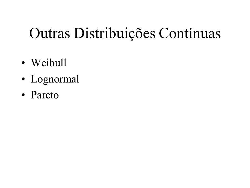 Outras Distribuições Contínuas Weibull Lognormal Pareto