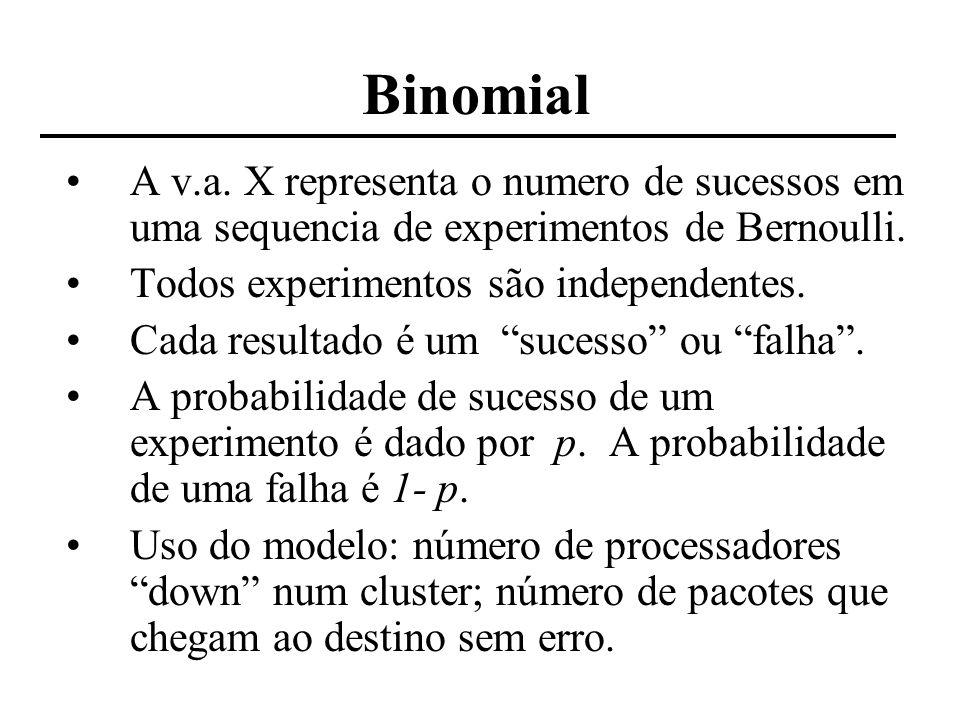 Distribuições Exponencial e Poisson Seja uma distribuição Poisson que denote o número de eventos N(t) em um intervalo de tempo t Seja T 1 o momento do 1o evento Seja T n o tempo entre o (n-1)-esimo e o n-esimo eventos Sequência {T n, n=1, 2,...}: tempos entre chegadas P(T 1 t) = P(N(t) = 0) = e - t T1 exponencial( ) P(T 2 t | T 1 = s) = Prob (0 eventos em (s, s+t) | T1 = s) = Prob (0 eventos em (s, s+t)) (eventos Poisson são independentes) = e - t T 2 exponencial( ) T 1, T 2,..., T n são independentes e têm mesma distribuição exponencial( )