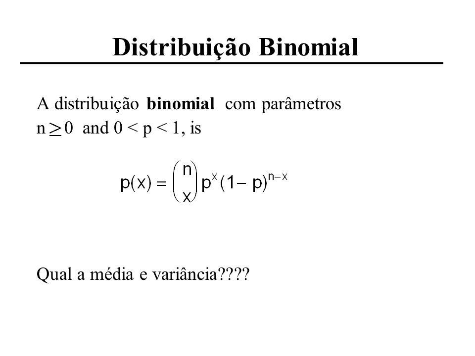 Distribuição Binomial A distribuição binomial com parametros n 0 and 0 < p < 1, is A média e variância da binomial são: