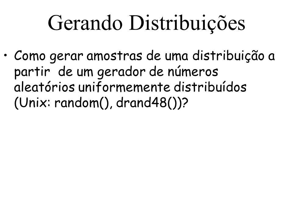Gerando Distribuições Como gerar amostras de uma distribuição a partir de um gerador de números aleatórios uniformemente distribuídos (Unix: random(),