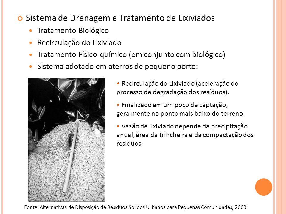 Sistema de Drenagem e Tratamento de Lixiviados Tratamento Biológico Recirculação do Lixiviado Tratamento Físico-químico (em conjunto com biológico) Si