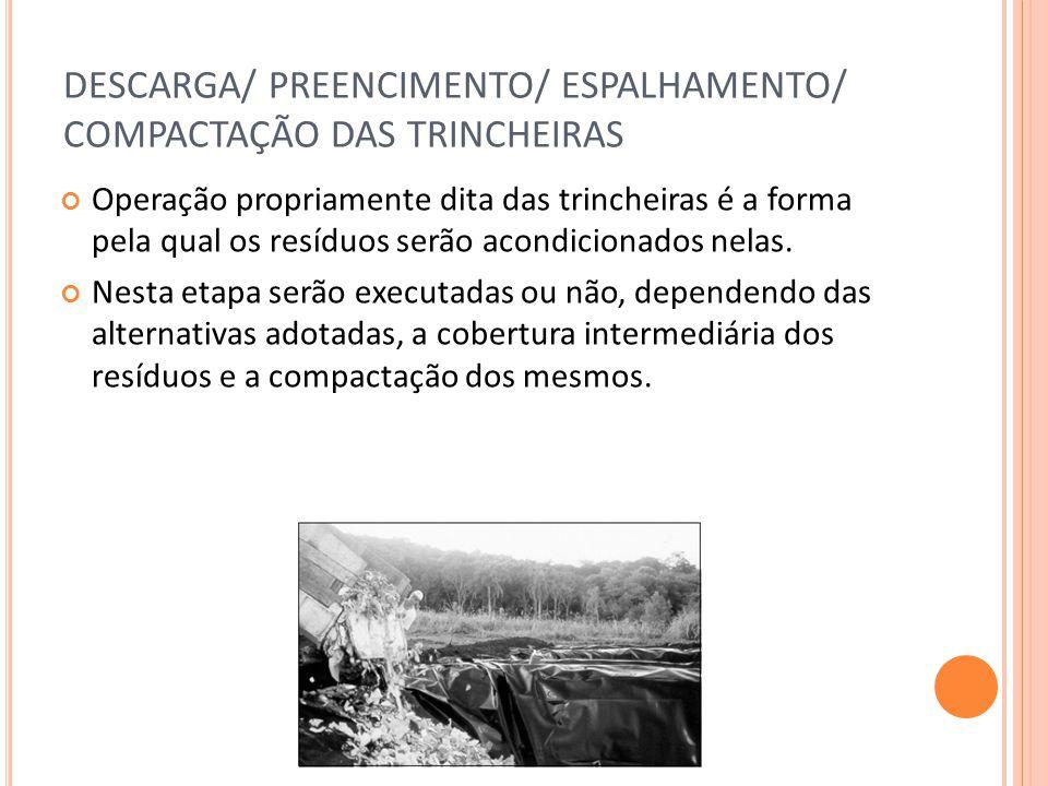 DESCARGA/ PREENCIMENTO/ ESPALHAMENTO/ COMPACTAÇÃO DAS TRINCHEIRAS Operação propriamente dita das trincheiras é a forma pela qual os resíduos serão acondicionados nelas.