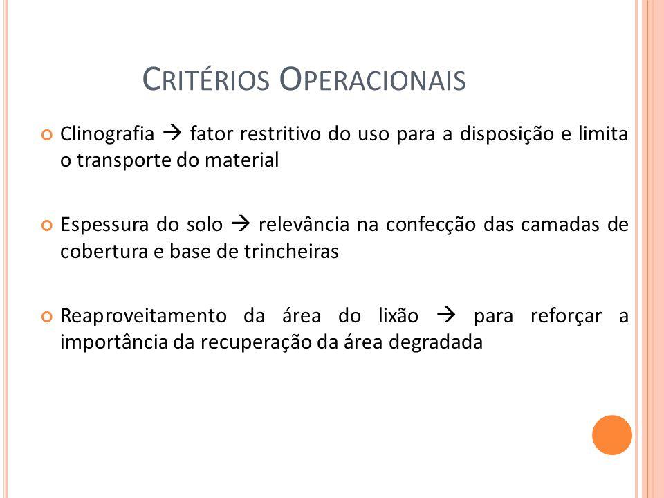 C RITÉRIOS O PERACIONAIS Clinografia fator restritivo do uso para a disposição e limita o transporte do material Espessura do solo relevância na confe