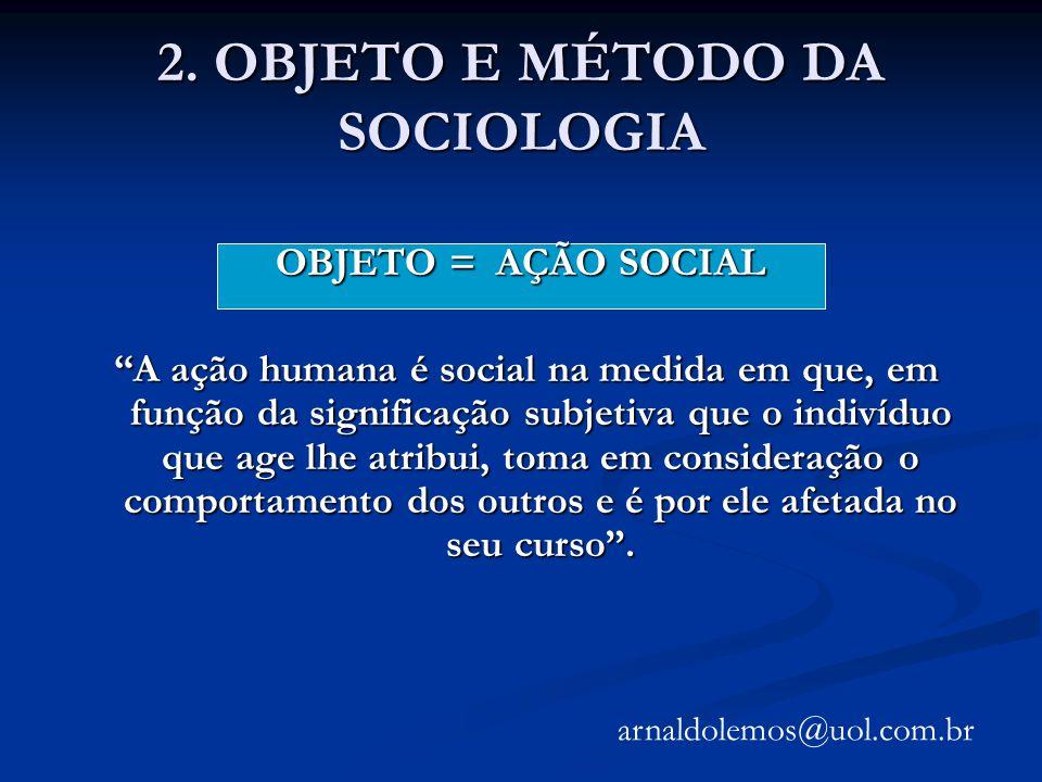 2. OBJETO E MÉTODO DA SOCIOLOGIA OBJETO = AÇÃO SOCIAL A ação humana é social na medida em que, em função da significação subjetiva que o indivíduo que