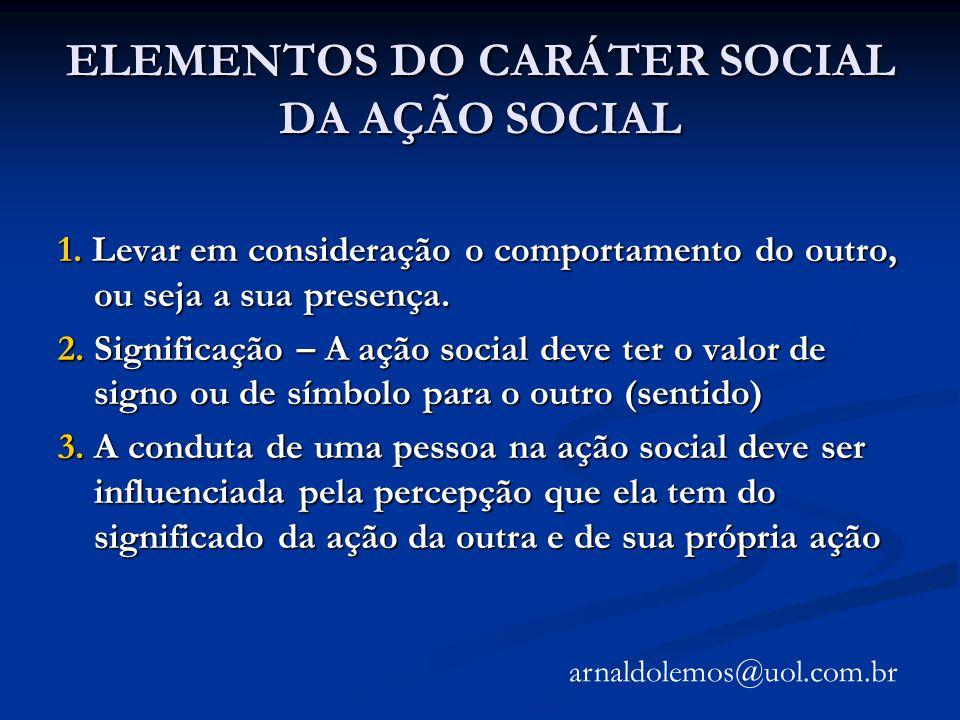 ELEMENTOS DO CARÁTER SOCIAL DA AÇÃO SOCIAL 1. Levar em consideração o comportamento do outro, ou seja a sua presença. 2. Significação – A ação social