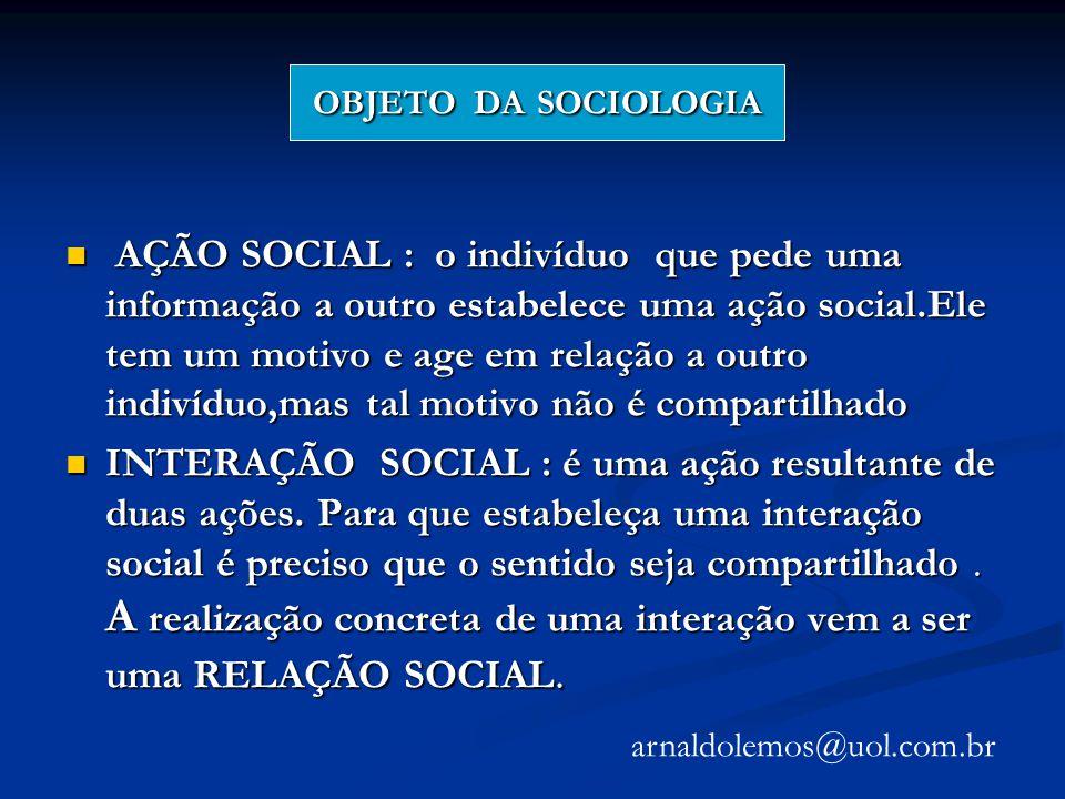 OBJETO DA SOCIOLOGIA OBJETO DA SOCIOLOGIA AÇÃO SOCIAL : o indivíduo que pede uma informação a outro estabelece uma ação social.Ele tem um motivo e age