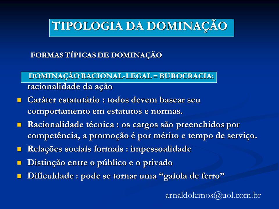 TIPOLOGIA DA DOMINAÇÃO FORMAS TÍPICAS DE DOMINAÇÃO FORMAS TÍPICAS DE DOMINAÇÃO DOMINAÇÃO RACIONAL-LEGAL = BUROCRACIA: racionalidade da ação DOMINAÇÃO