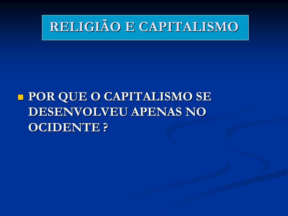 RELIGIÃO E CAPITALISMO POR QUE O CAPITALISMO SE DESENVOLVEU APENAS NO OCIDENTE ? POR QUE O CAPITALISMO SE DESENVOLVEU APENAS NO OCIDENTE ?