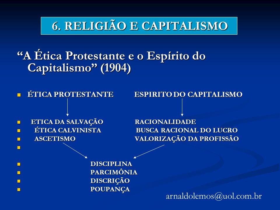 6. RELIGIÃO E CAPITALISMO A Ética Protestante e o Espírito do Capitalismo (1904) ÉTICA PROTESTANTE ESPIRITO DO CAPITALISMO ÉTICA PROTESTANTE ESPIRITO
