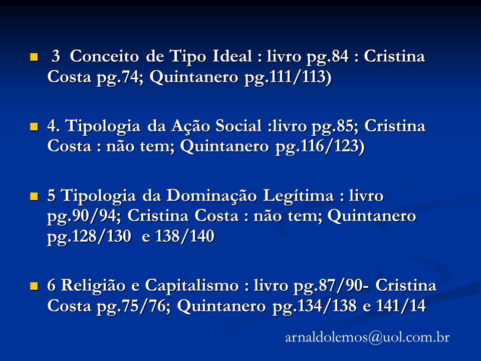 3 Conceito de Tipo Ideal : livro pg.84 : Cristina Costa pg.74; Quintanero pg.111/113) 3 Conceito de Tipo Ideal : livro pg.84 : Cristina Costa pg.74; Q