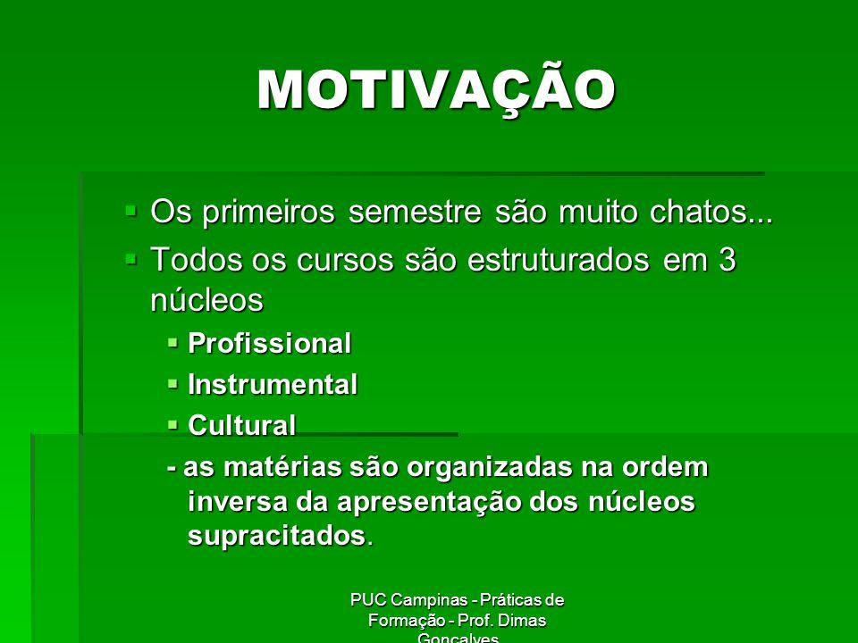 PUC Campinas - Práticas de Formação - Prof.Dimas Gonçalves MOTIVAÇÃO 2.