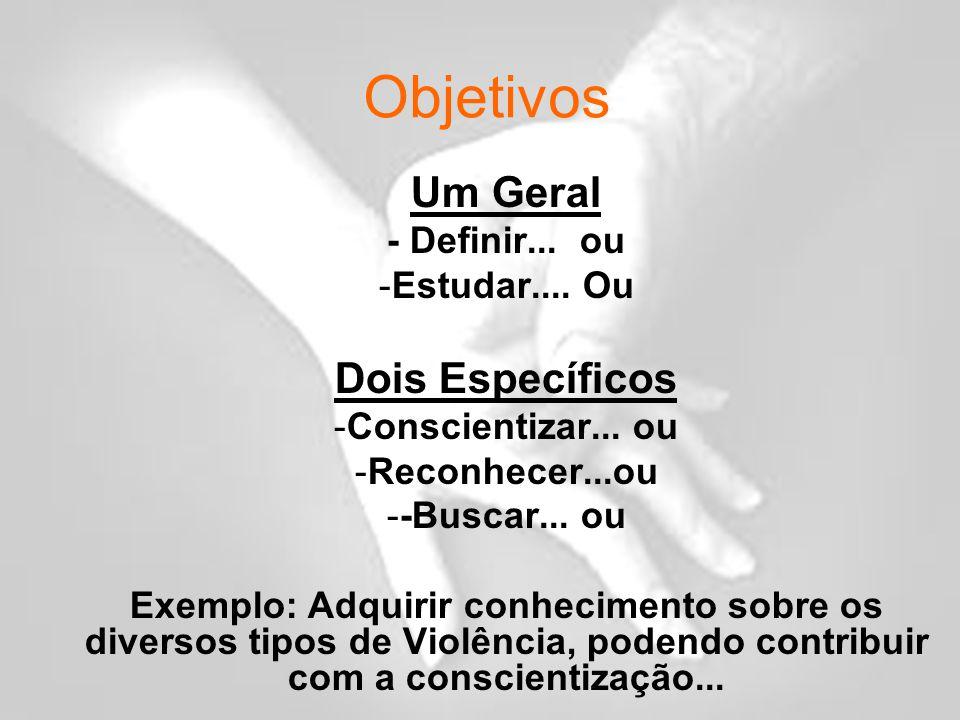 Objetivos Um Geral - Definir...ou -Estudar.... Ou Dois Específicos -Conscientizar...