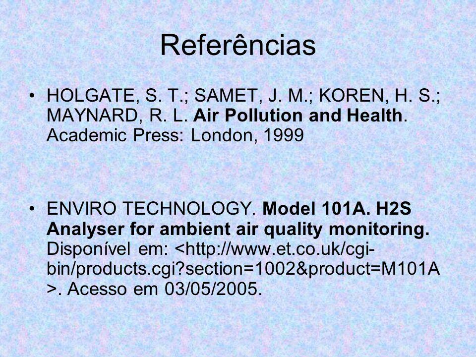 Referências HOLGATE, S. T.; SAMET, J. M.; KOREN, H. S.; MAYNARD, R. L. Air Pollution and Health. Academic Press: London, 1999 ENVIRO TECHNOLOGY. Model
