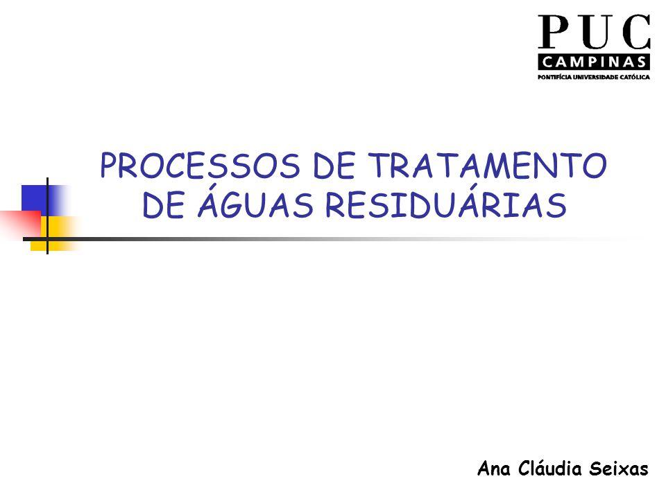PROCESSOS DE TRATAMENTO DE ÁGUAS RESIDUÁRIAS Ana Cláudia Seixas