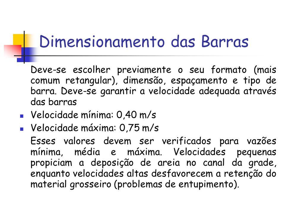 Dimensionamento das Barras Deve-se escolher previamente o seu formato (mais comum retangular), dimensão, espaçamento e tipo de barra. Deve-se garantir