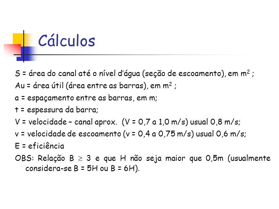 Cálculos S = área do canal até o nível dágua (seção de escoamento), em m 2 ; Au = área útil (área entre as barras), em m 2 ; a = espaçamento entre as barras, em m; t = espessura da barra; V = velocidade – canal aprox.